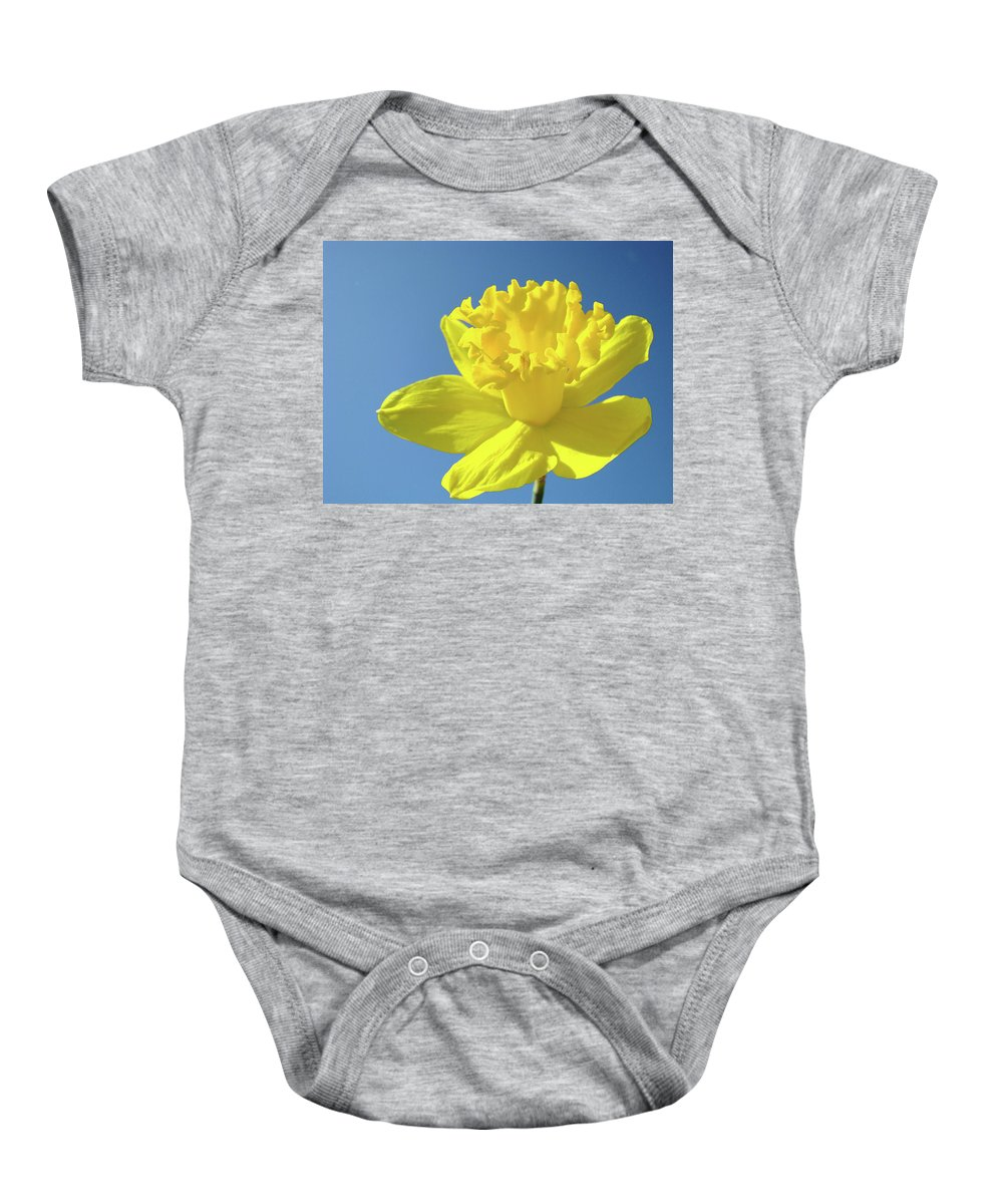 Sky Baby Onesie featuring the photograph Spring Daffodil Flowers Art Prints Blue Sky Baslee Troutman by Baslee Troutman
