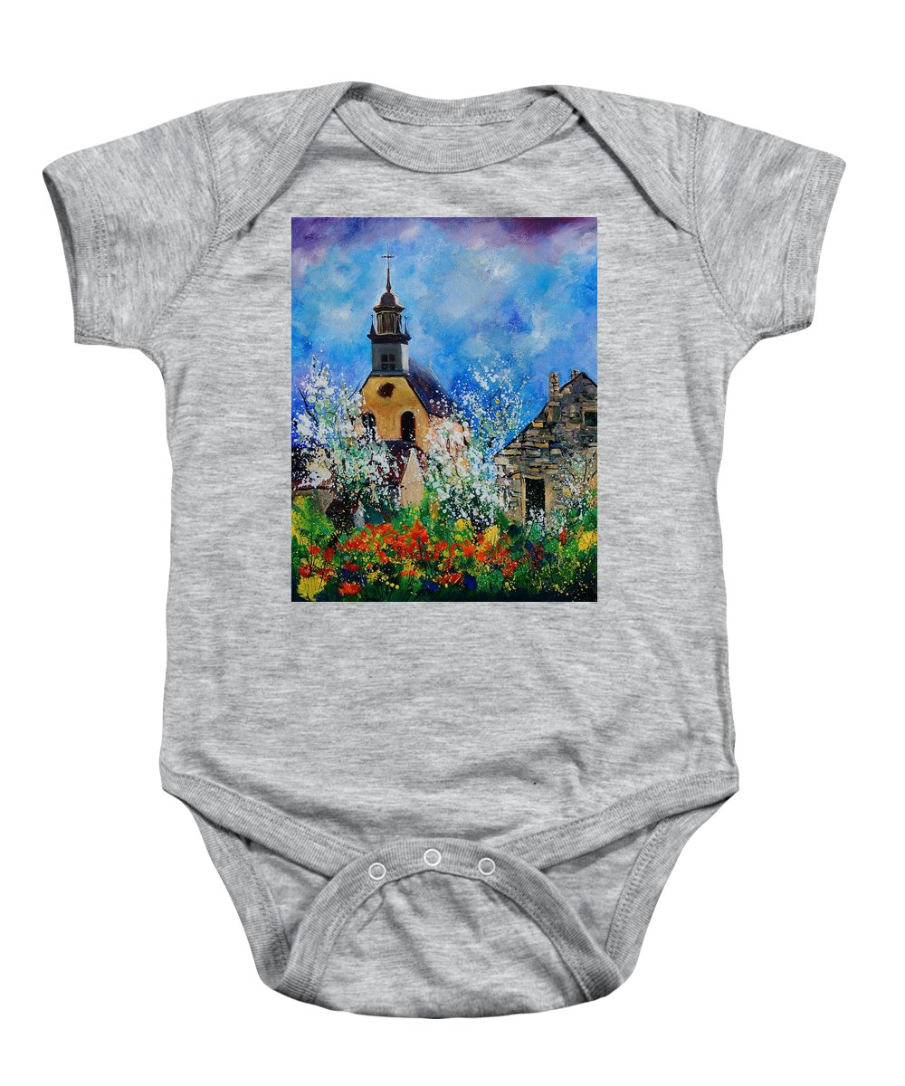 Spring Baby Onesie featuring the painting Spring In Foy Notre Dame Dinant by Pol Ledent