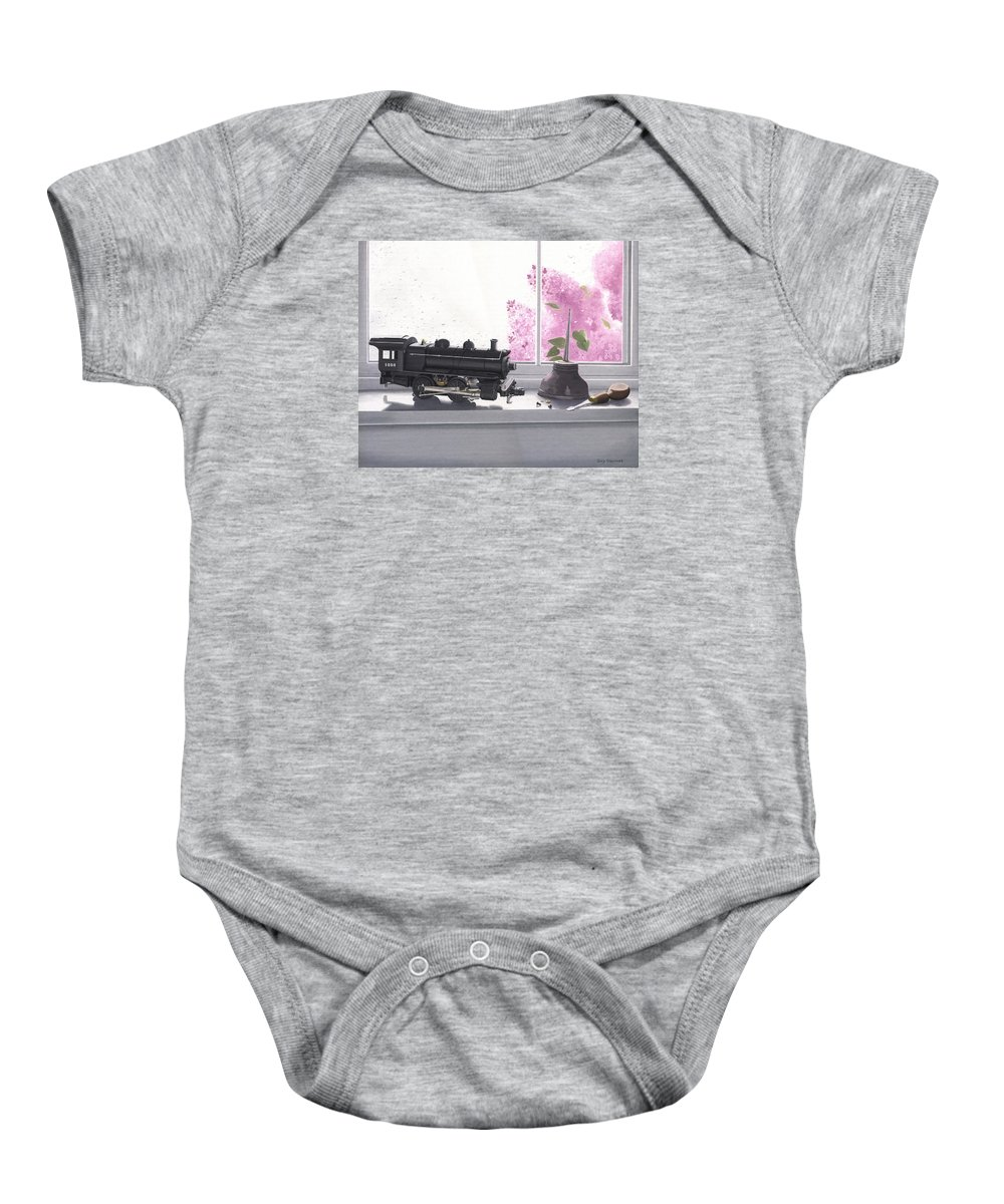 Lionel Baby Onesie featuring the painting Spring Rain Electric Train by Gary Giacomelli