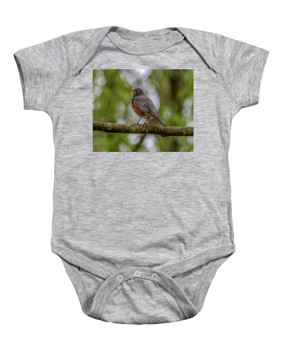 Robin Bird Call Baby Onesie featuring the photograph Spring Robin by Jerry Cahill