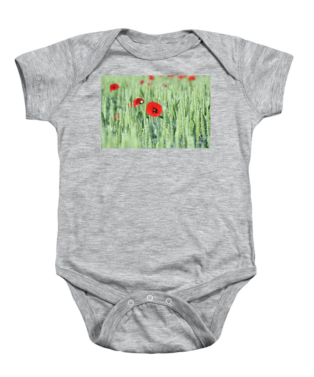 Wheat Baby Onesie featuring the photograph Spring Scene Green Wheat And Poppy Flowers by Goce Risteski