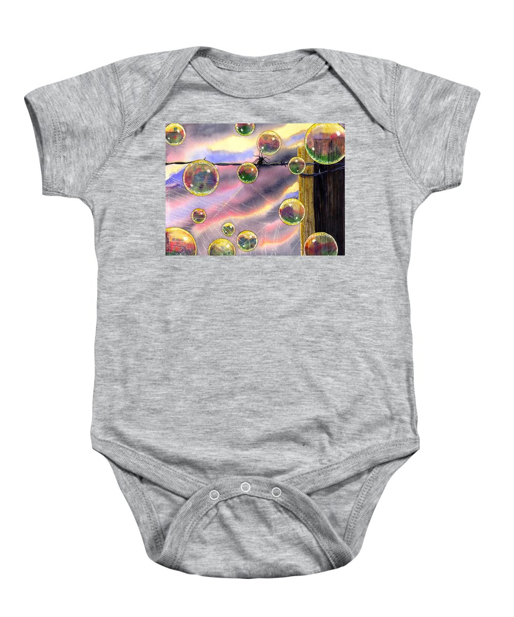 Bubbles Baby Onesie featuring the painting Spyder by Catherine G McElroy