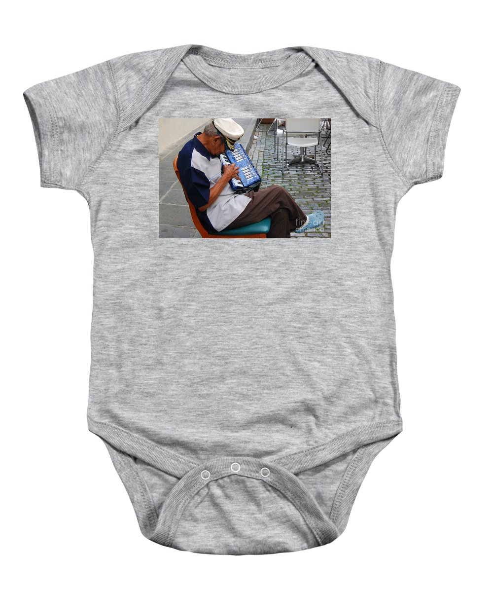 People Baby Onesie featuring the photograph Squeeze Box by Debbi Granruth