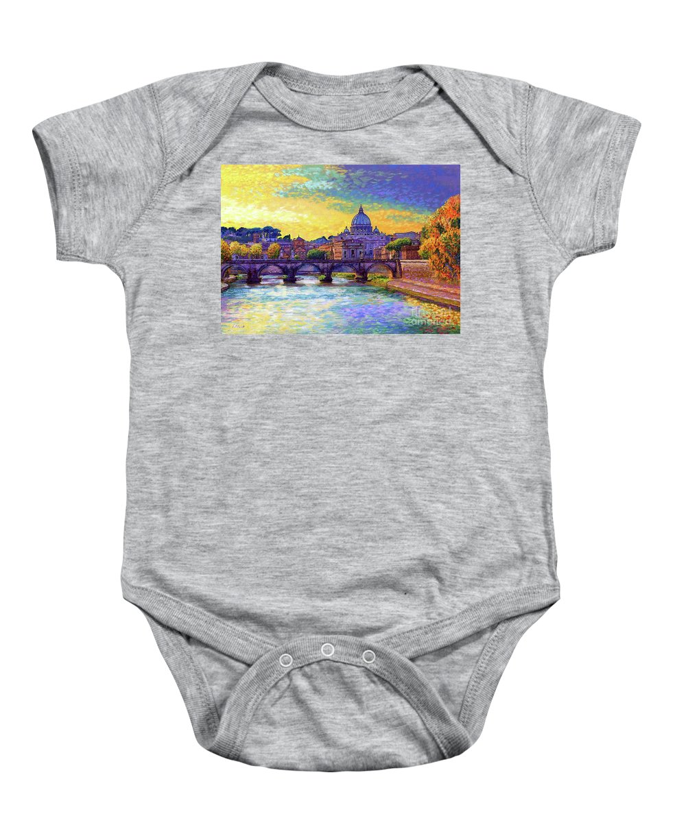Italy Baby Onesie featuring the painting St Angelo Bridge Ponte St Angelo Rome by Jane Small