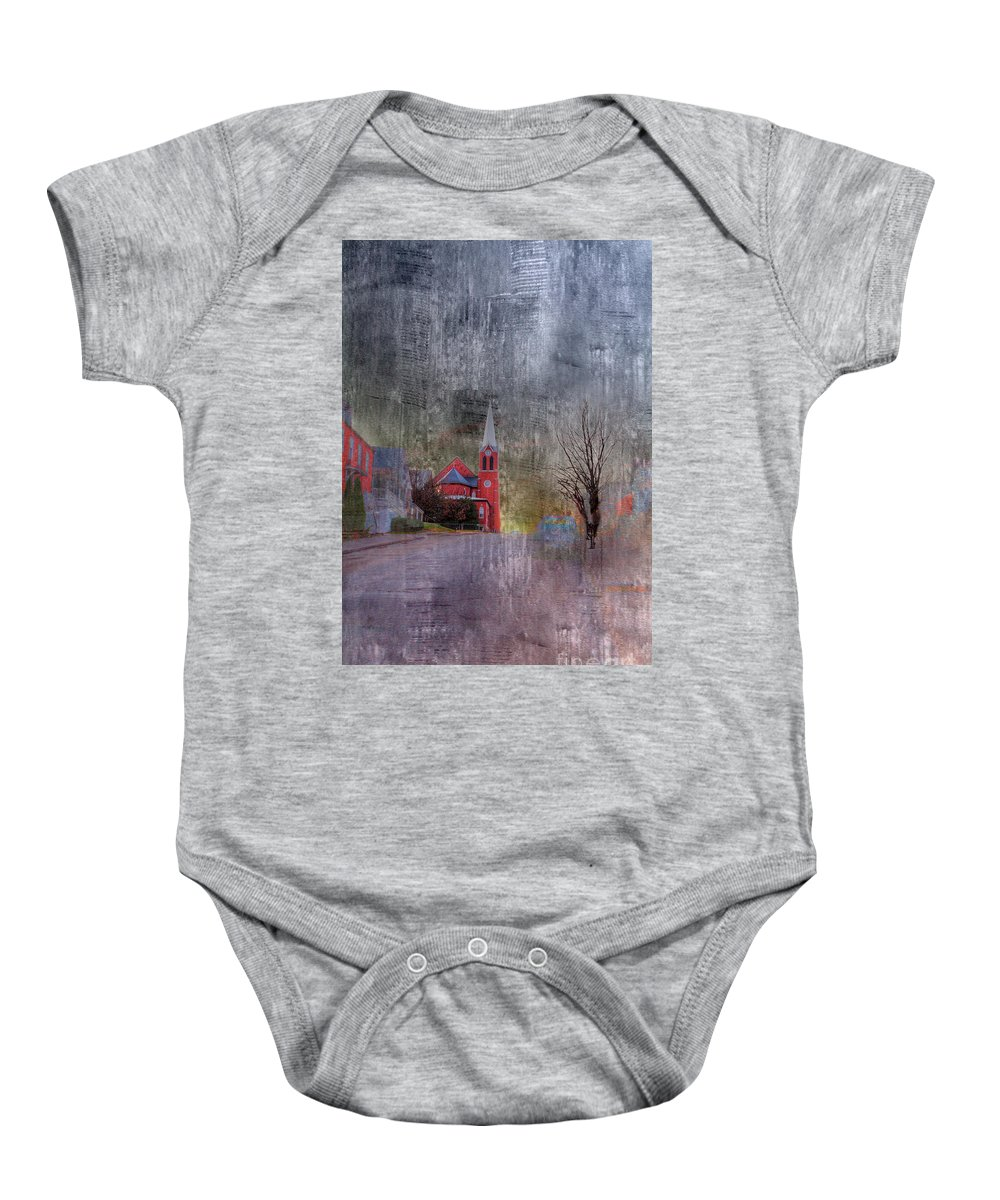 Hdr Baby Onesie featuring the photograph St George Catholic Church by Larry Braun