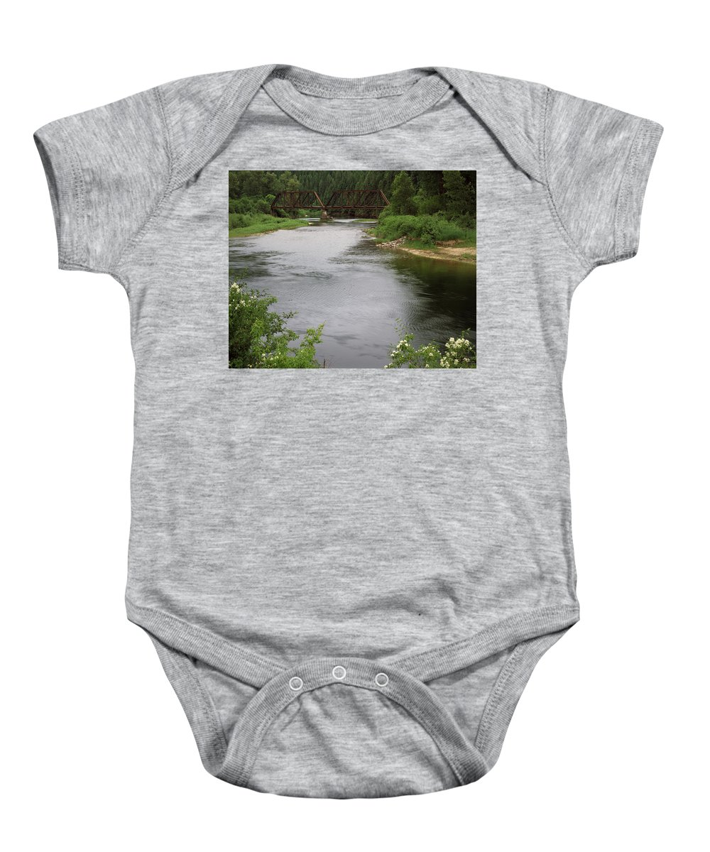 Saint Joe River Baby Onesie featuring the photograph St Joe Bridge by Leland D Howard