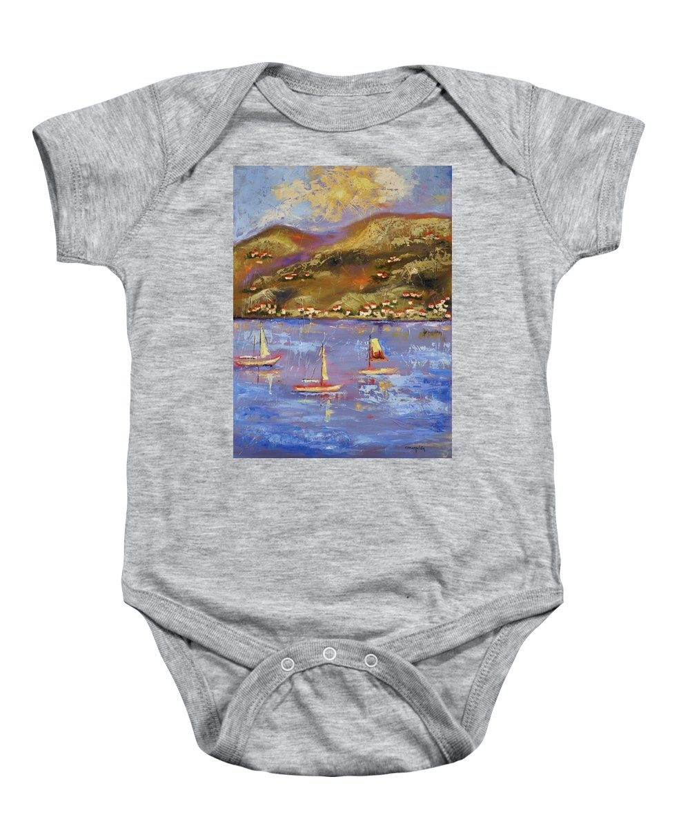 St. John Baby Onesie featuring the painting St. John Usvi by Ginger Concepcion
