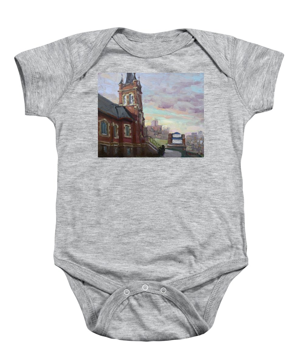 St John's Dixie Baby Onesie featuring the painting St John's Dixie by Ylli Haruni