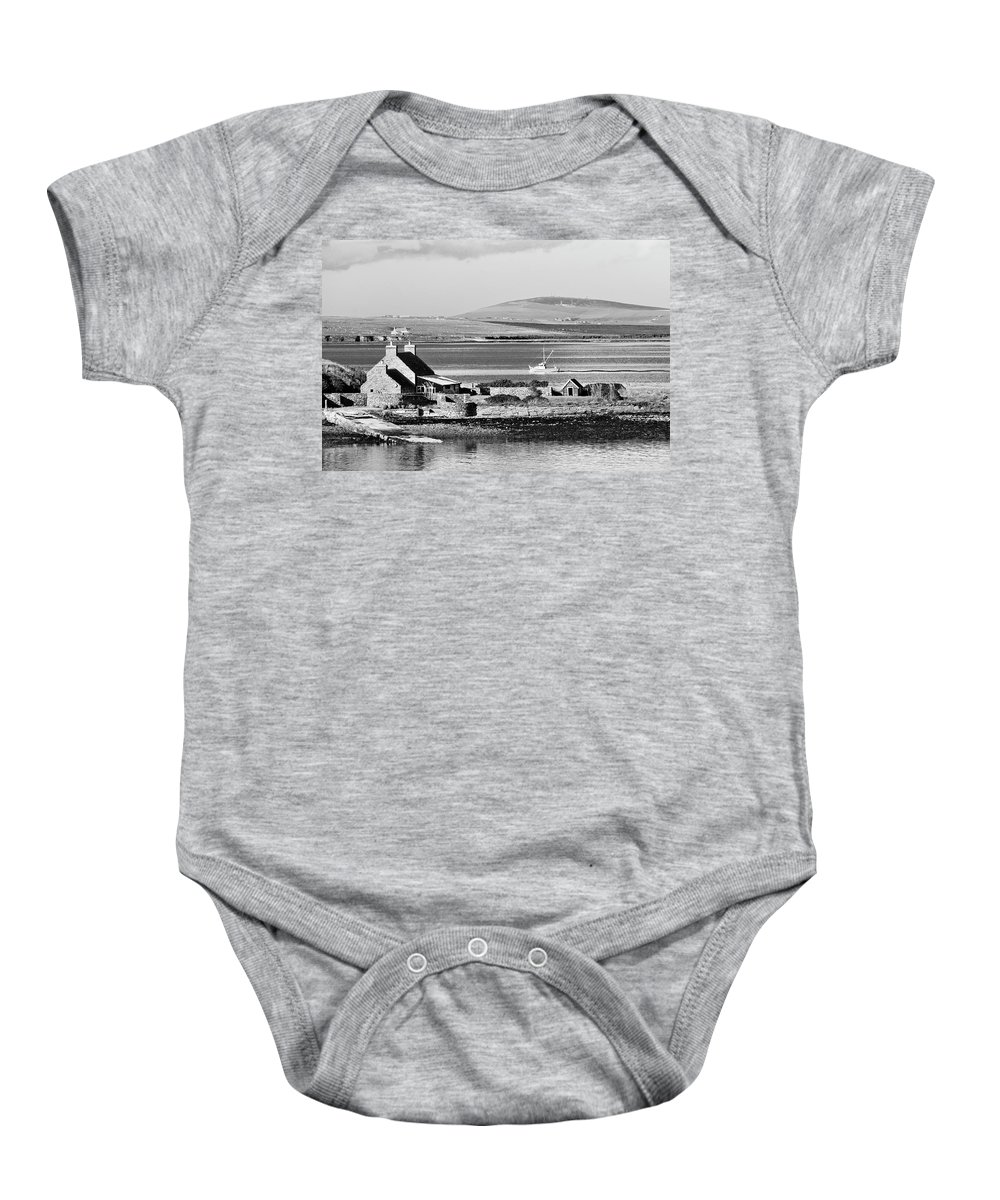 Orkney Baby Onesie featuring the photograph St. Margarets Hope, Orkney.  Black And White by David Lyons