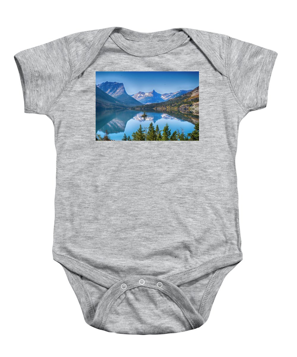 Lake Baby Onesie featuring the photograph St Mary Lake by Bryan Spellman