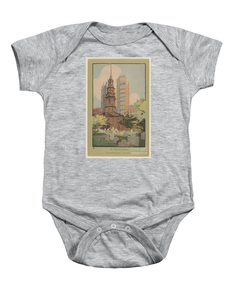 Baby Onesie featuring the drawing St. Paul's Chapel by Rachael Robinson Elmer