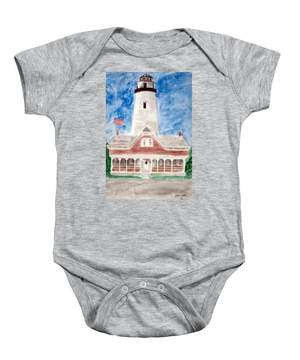 Watercolor Landscape Lighthouse Seascape Painting Baby Onesie featuring the painting ST SIMONS LIGHTHOUSE nautical painting print by Derek Mccrea