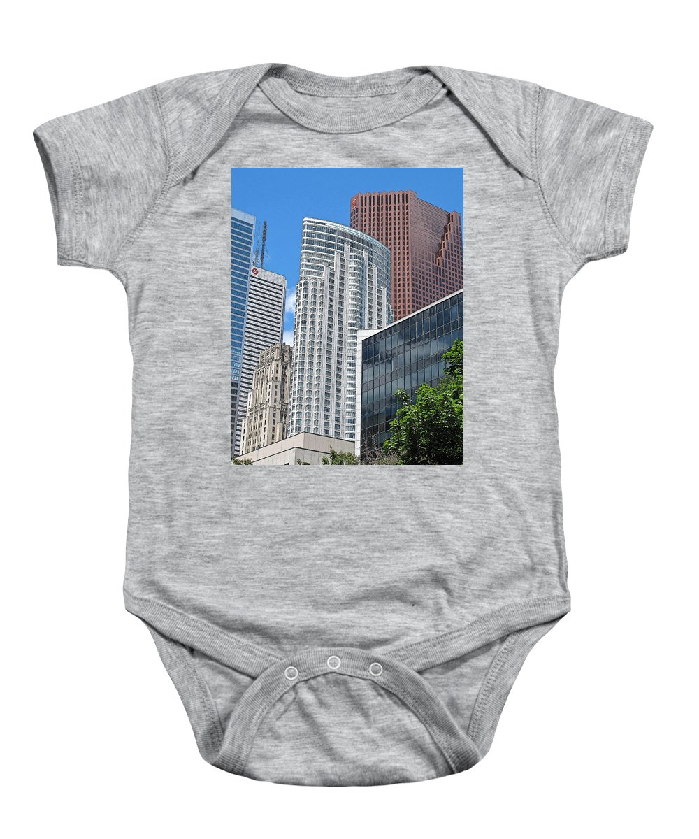 Toronto Baby Onesie featuring the photograph Stacked Cubes by Ian MacDonald
