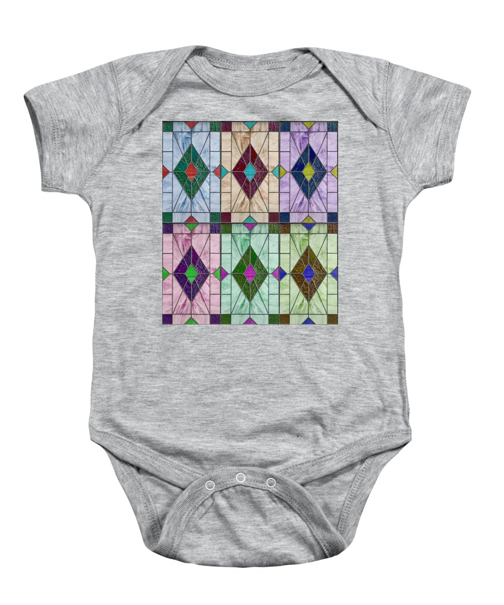 Abstract Baby Onesie featuring the digital art Stained Glass Abstract by John Haldane