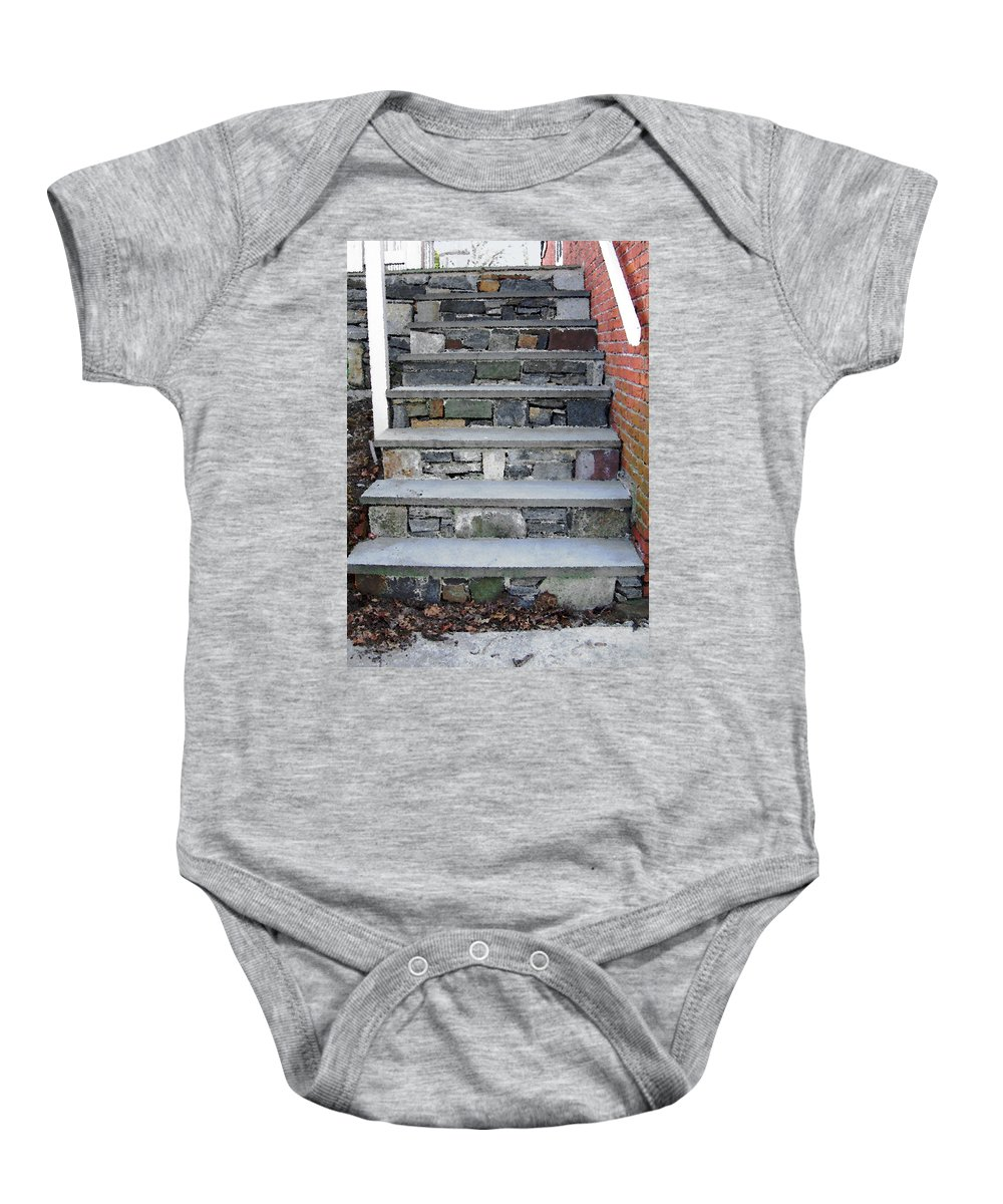 Stairs Baby Onesie featuring the photograph Stairs To The Plague House by RC DeWinter