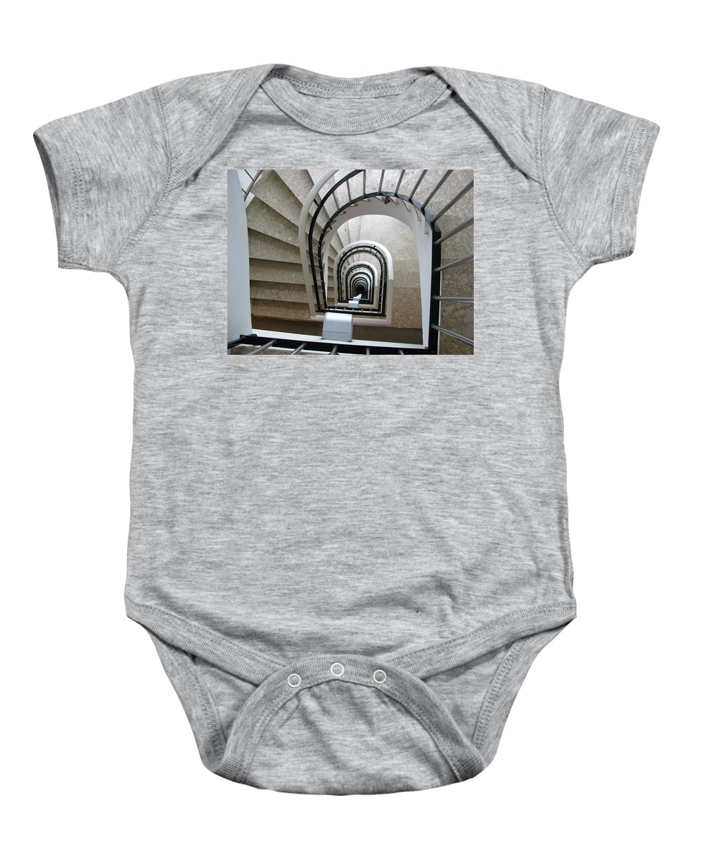 Stairwell Baby Onesie featuring the photograph Stairwell In Presidente Hotel by Brian Fornear