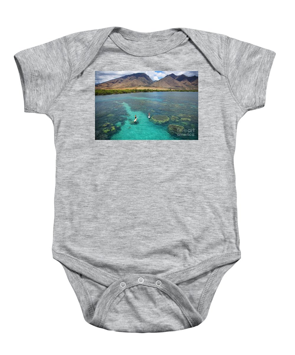 Adrenaline Baby Onesie featuring the photograph Stand Up Paddling by Ron Dahlquist - Printscapes