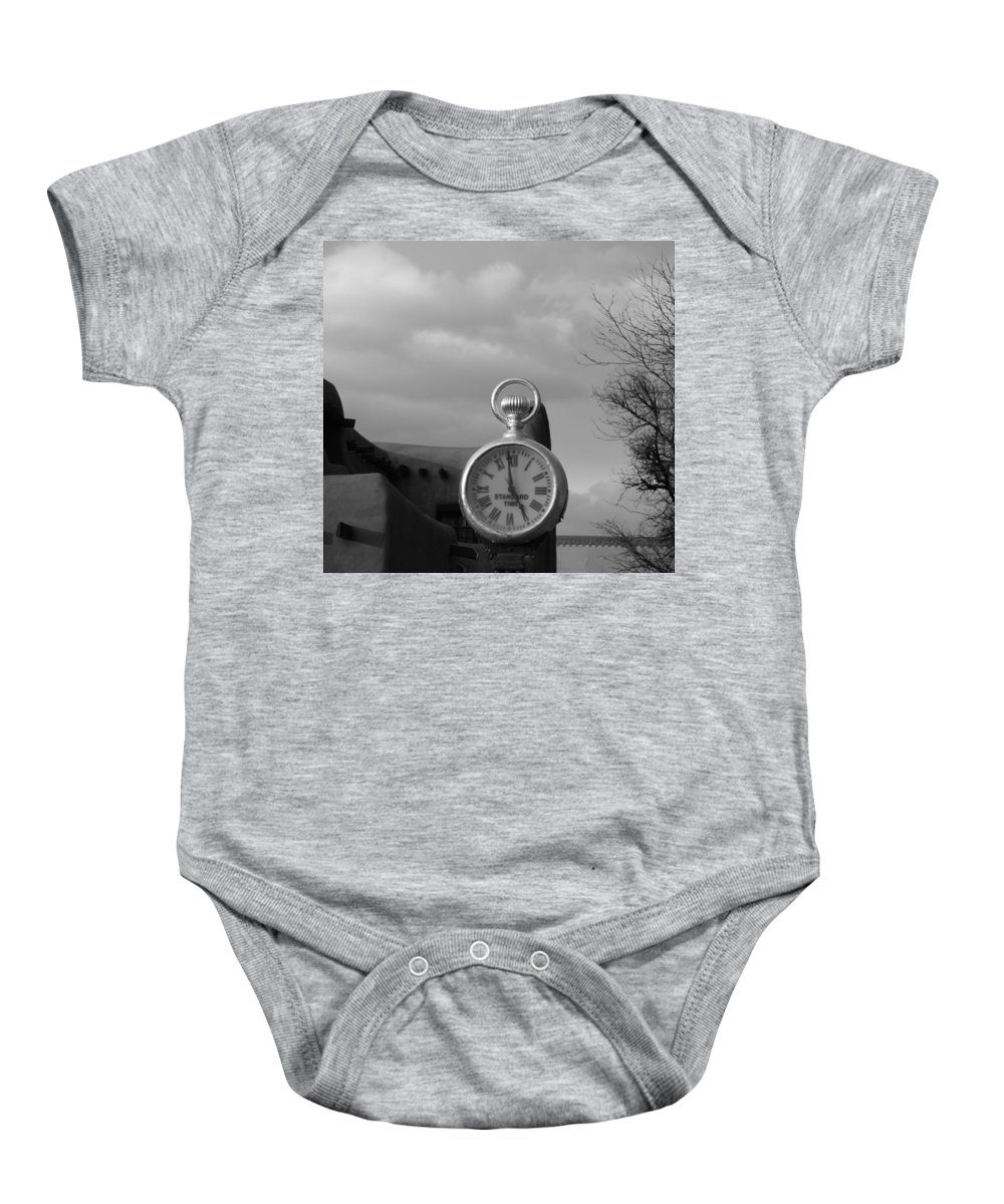 Black And White Baby Onesie featuring the photograph Standard Time by Rob Hans