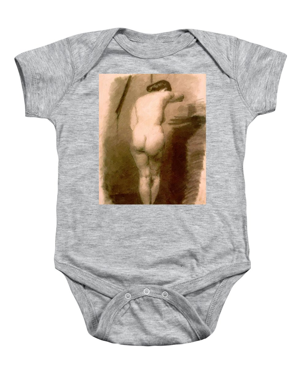 Standing Baby Onesie featuring the painting Standing Nude 1876 by Eakins Thomas