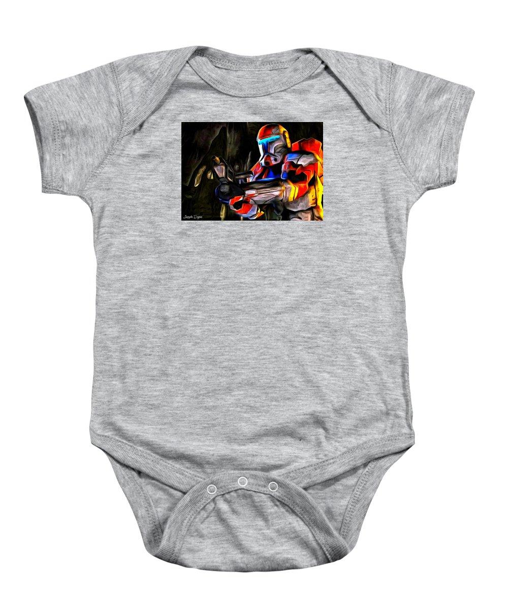 Star Wars 7 Baby Onesie featuring the painting Star Wars Hunter by Leonardo Digenio