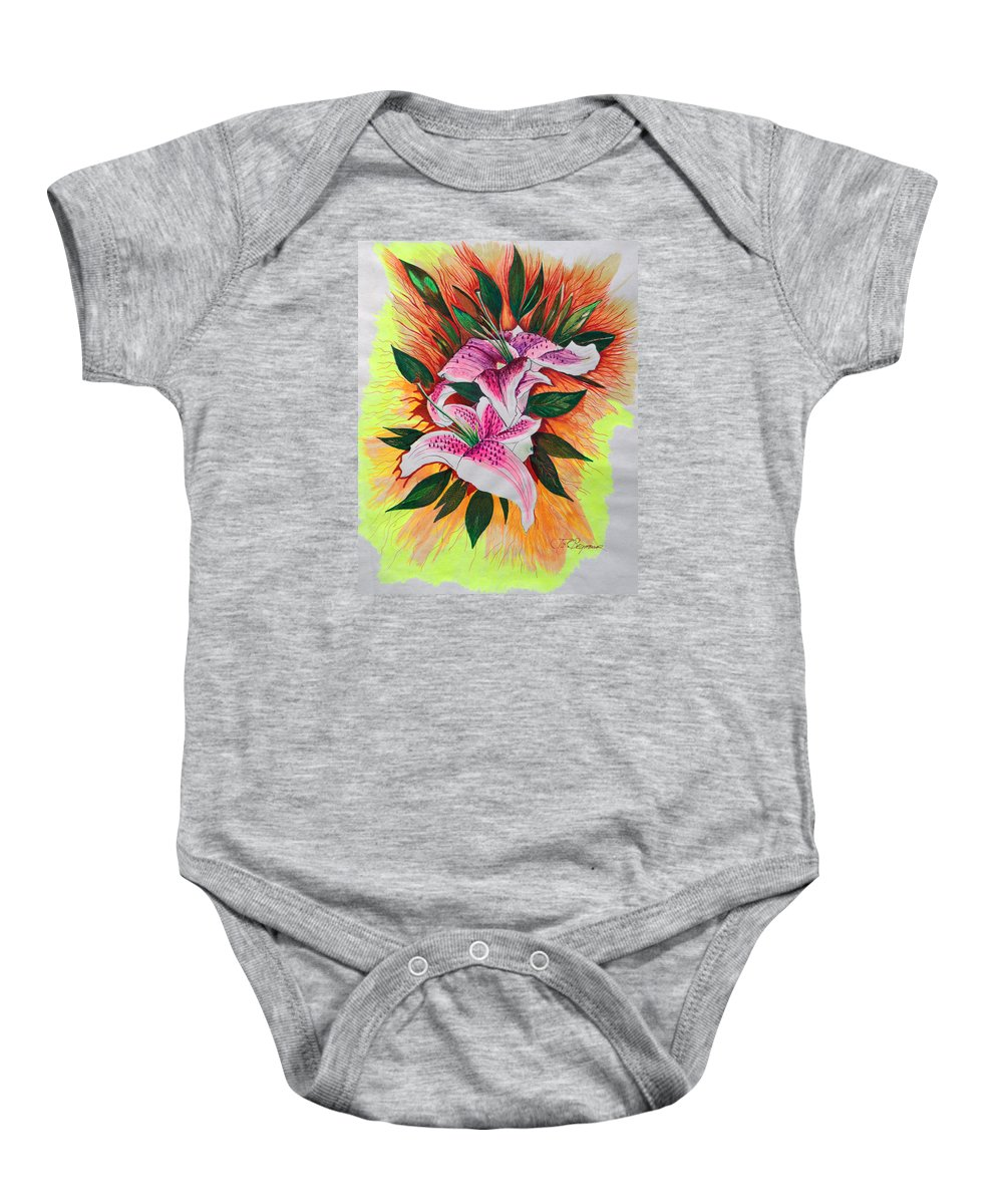 Flowers Baby Onesie featuring the drawing Stargazers by J R Seymour