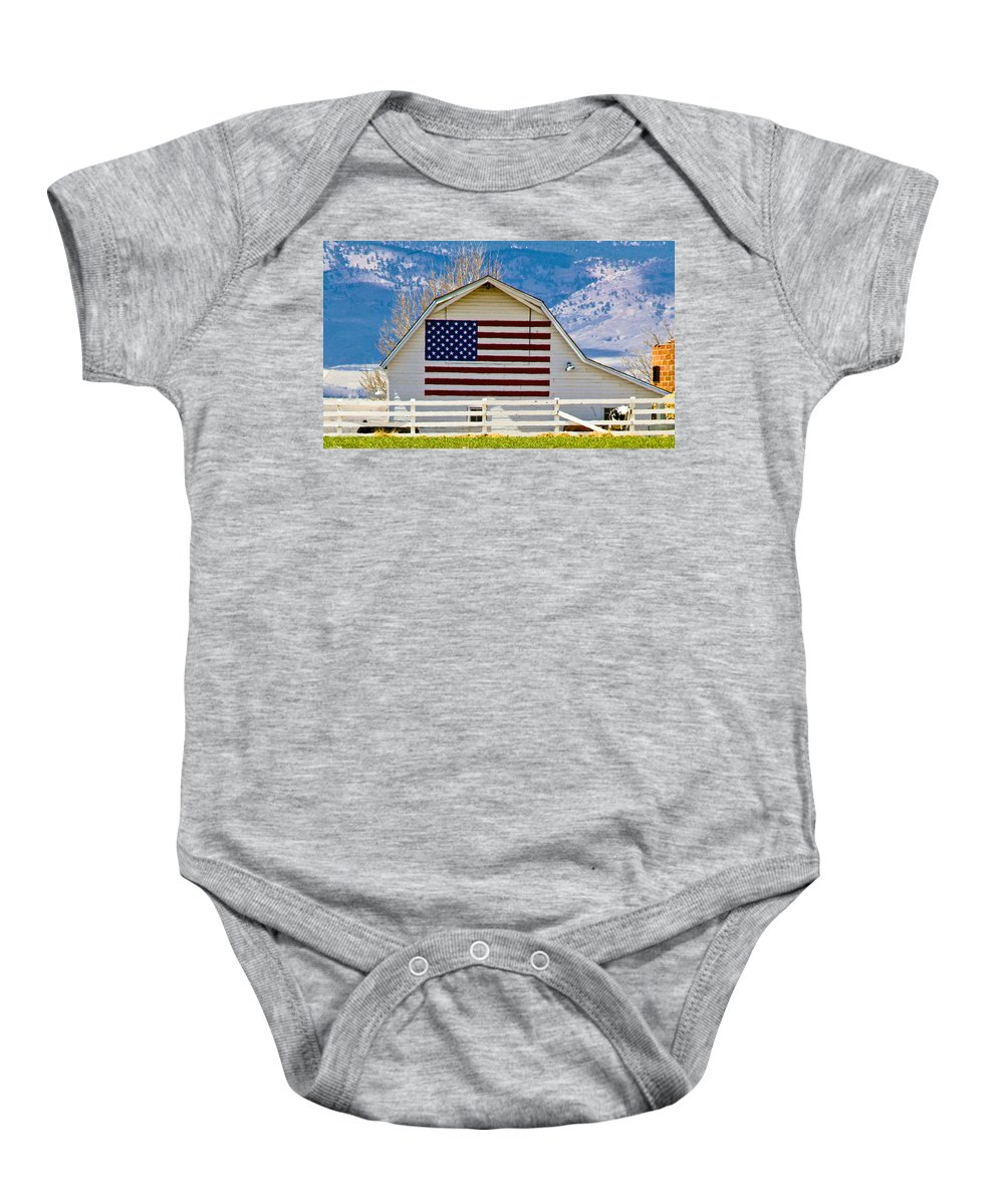 Barn Baby Onesie featuring the photograph Stars Stripes And Barns by Marilyn Hunt