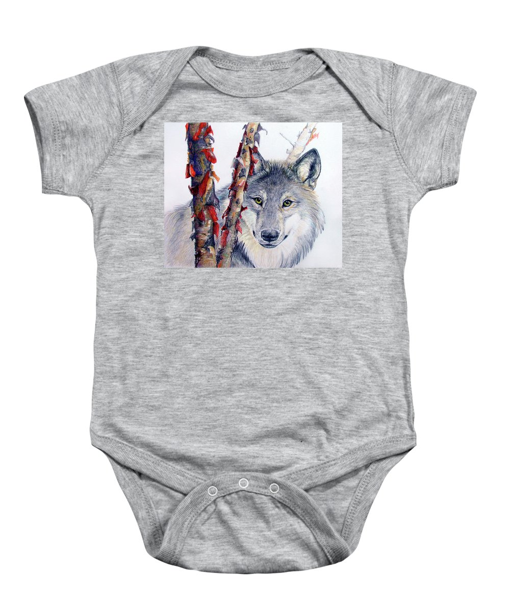 Nature Baby Onesie featuring the drawing Stealth by Becky Brooks