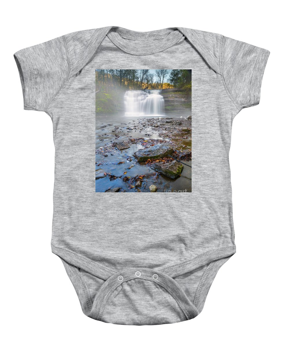 New York Baby Onesie featuring the photograph Steamy Morning At Pixley Falls by Karen Jorstad