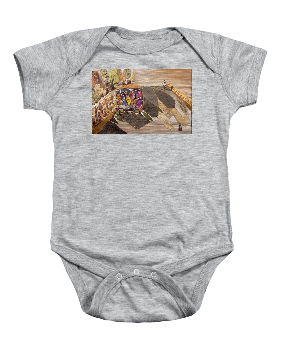 Tempo Drive To City Baby Onesie featuring the mixed media Steep Riding by Basant soni