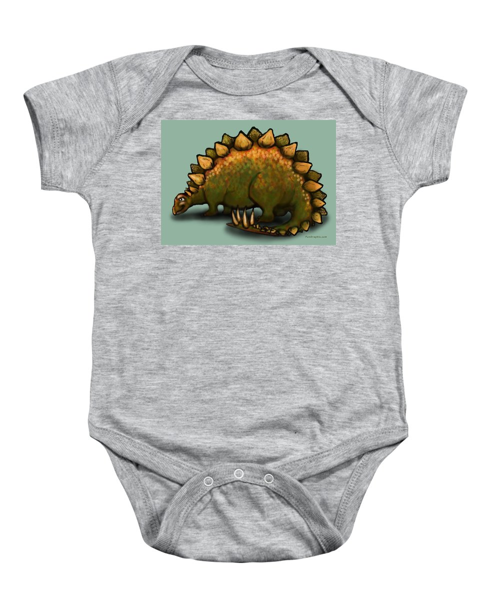 Stegosaurus Baby Onesie featuring the greeting card Stegosaurus by Kevin Middleton