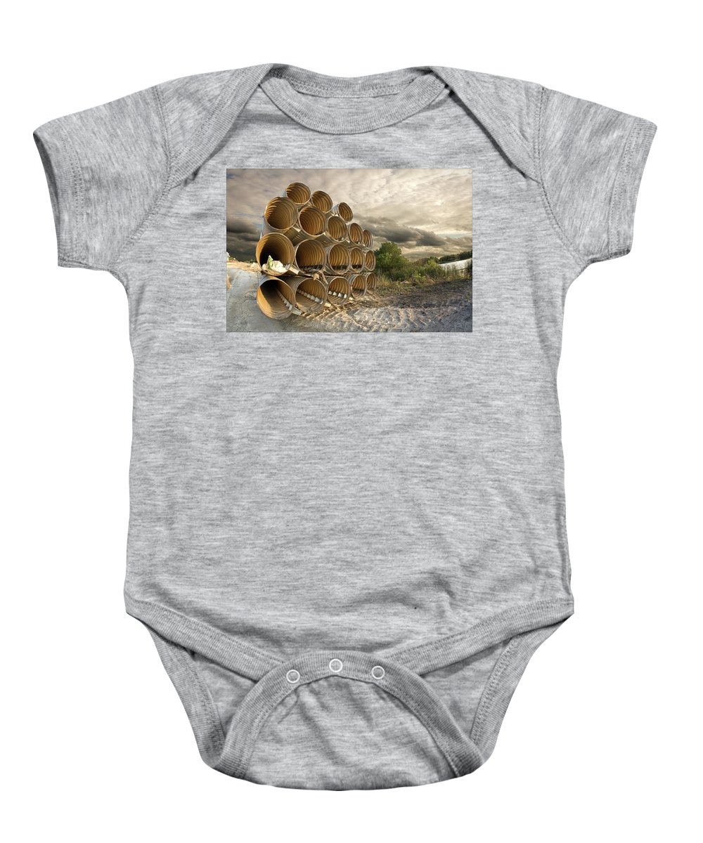 Industrial Baby Onesie featuring the photograph Stella's Pipes by Steven Hlavac