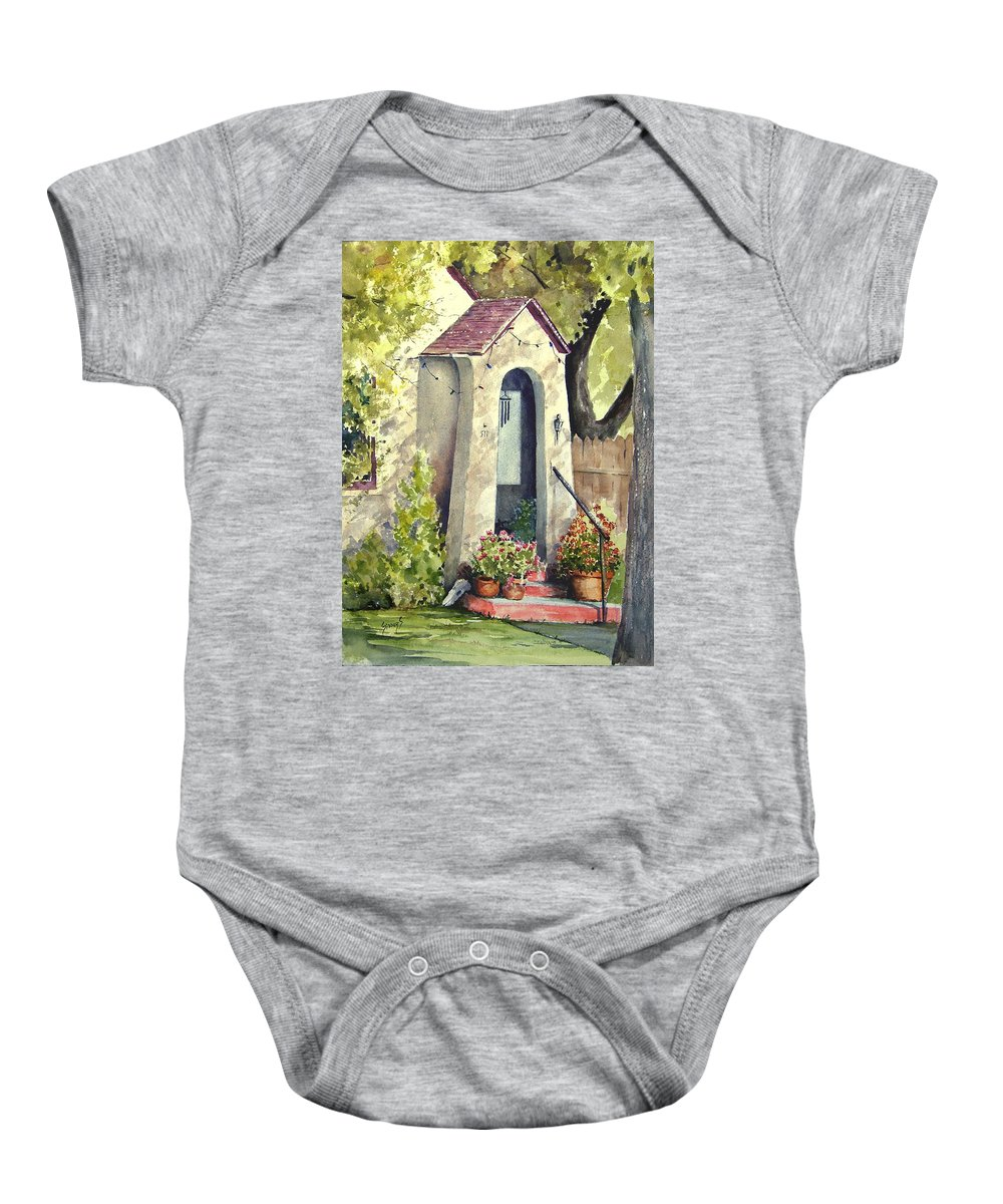 Door Baby Onesie featuring the painting Stephanie's Porch by Sam Sidders
