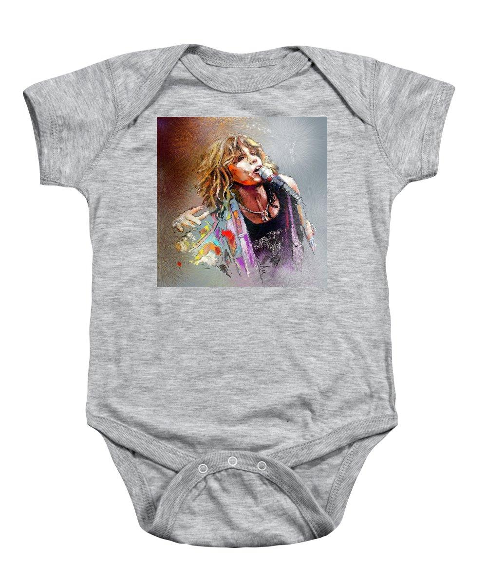 Musicians Baby Onesie featuring the painting Steven Tyler 02 Aerosmith by Miki De Goodaboom