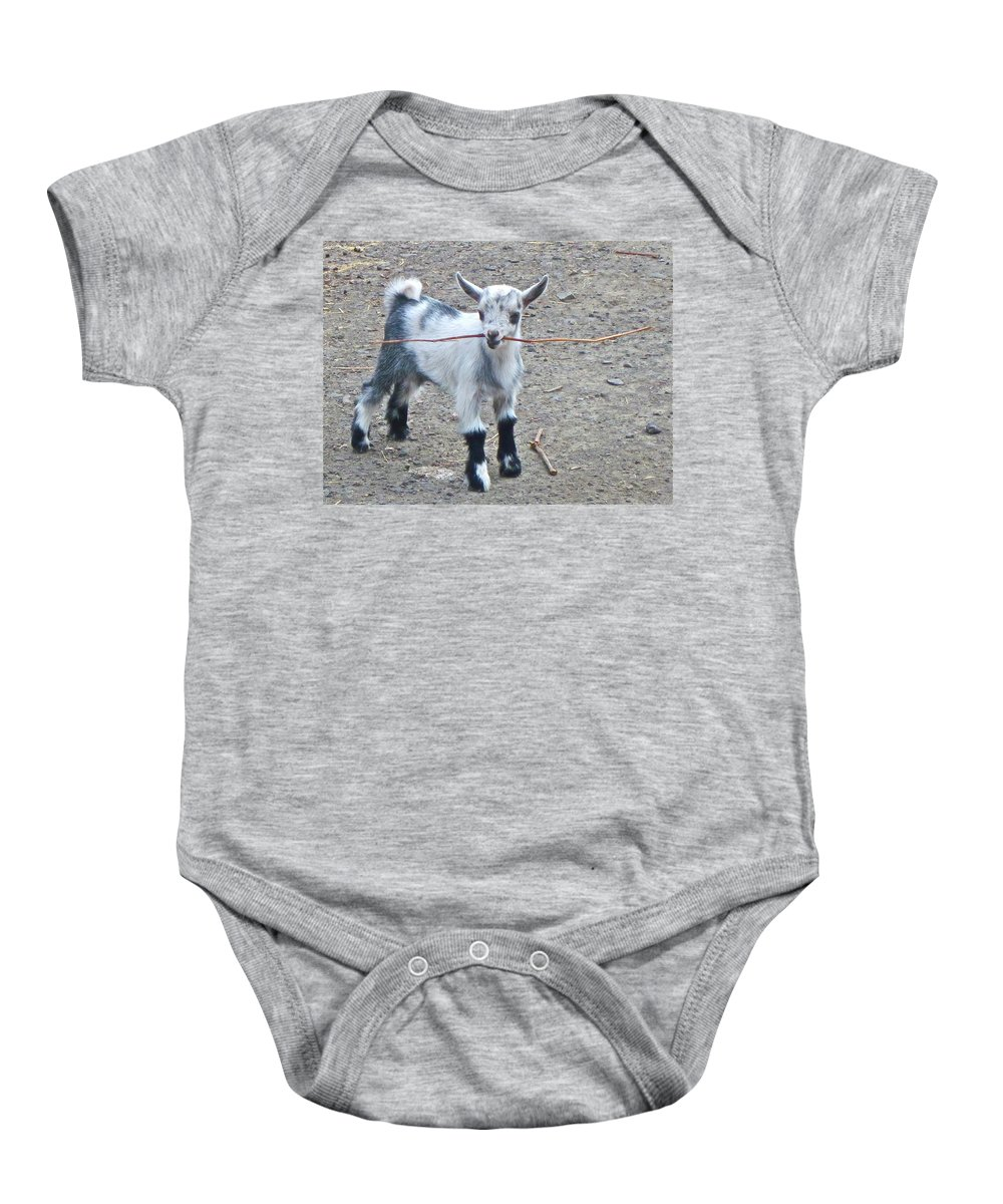 Goat Photographs Baby Onesie featuring the photograph Sticky Business by Gwyn Newcombe