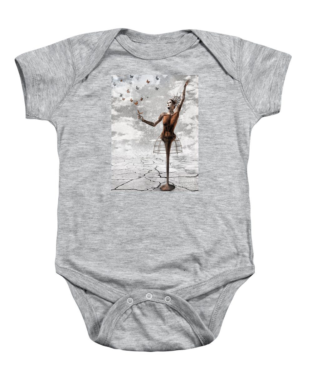 Surreal Baby Onesie featuring the painting Still Believe by Jacky Gerritsen