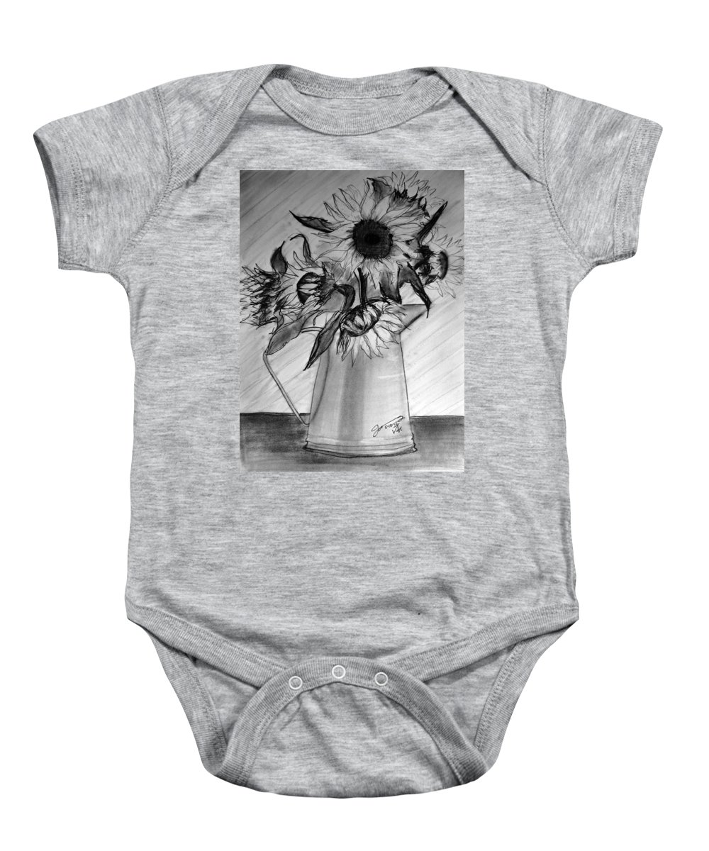 Still Life Baby Onesie featuring the drawing Still Life - 6 Sunflowers In A Jug by Jose A Gonzalez Jr
