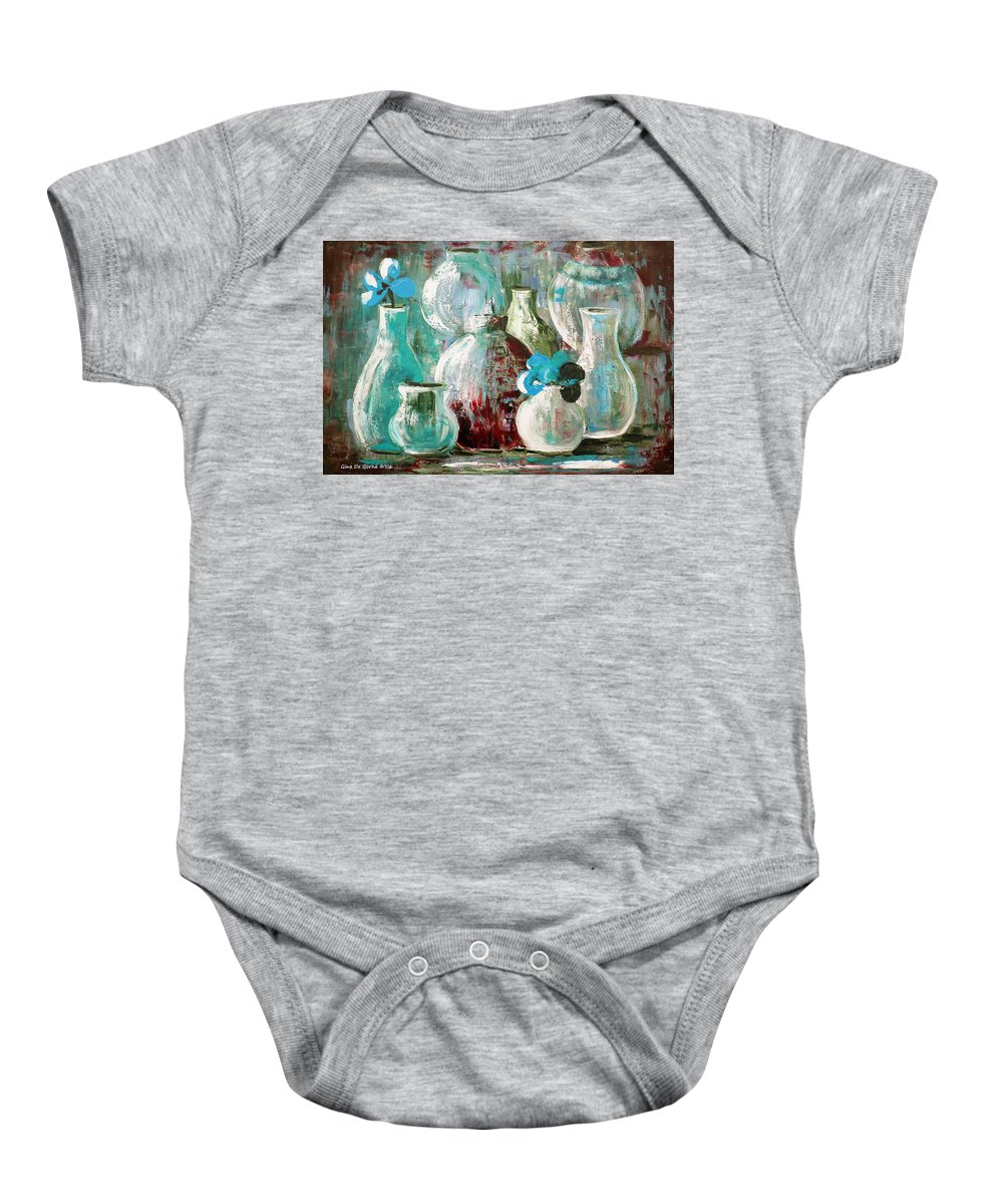 Still Life Baby Onesie featuring the painting Still Life With Blue Flowers 2 by Gina De Gorna