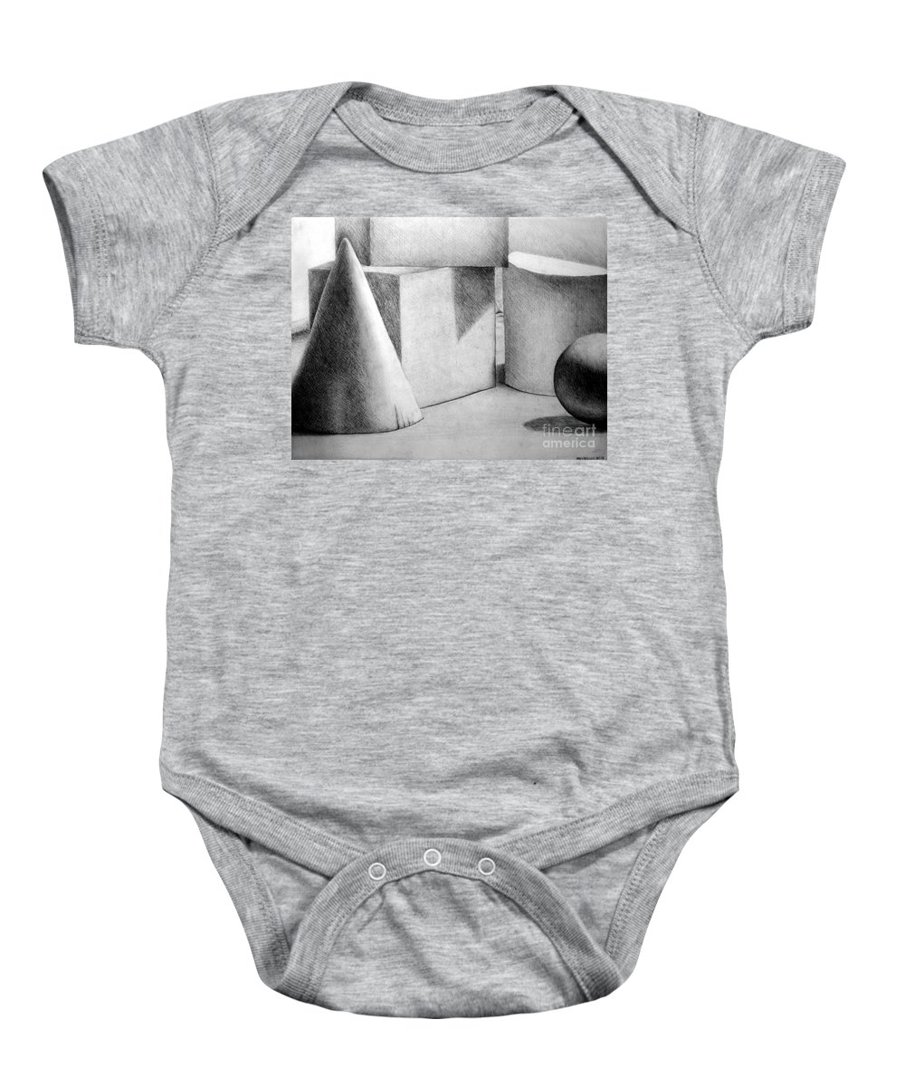 Drawing Baby Onesie featuring the drawing Still Life With Shapes by Nancy Mueller