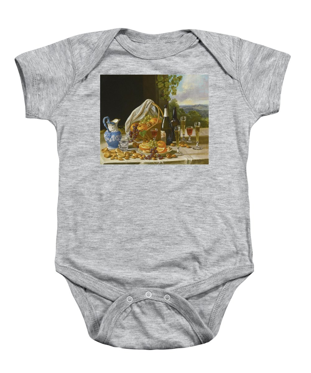 John F Francis Baby Onesie featuring the painting Still Life With Wine And Fruit by John F Francis