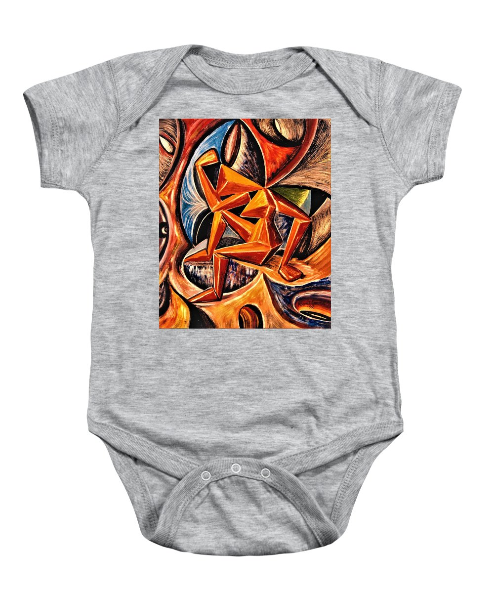 Art Trendsetting Universal Baby Onesie featuring the painting Still Searching For The Essence Of Life by Mbonu Emerem