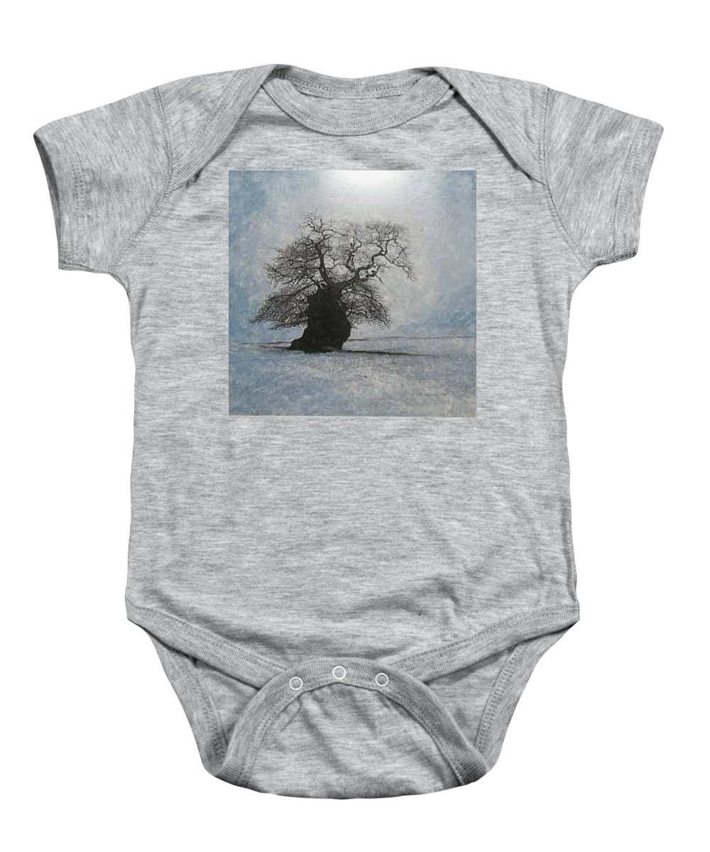 Silhouette Baby Onesie featuring the painting Stilton Silhouette by Leah Tomaino