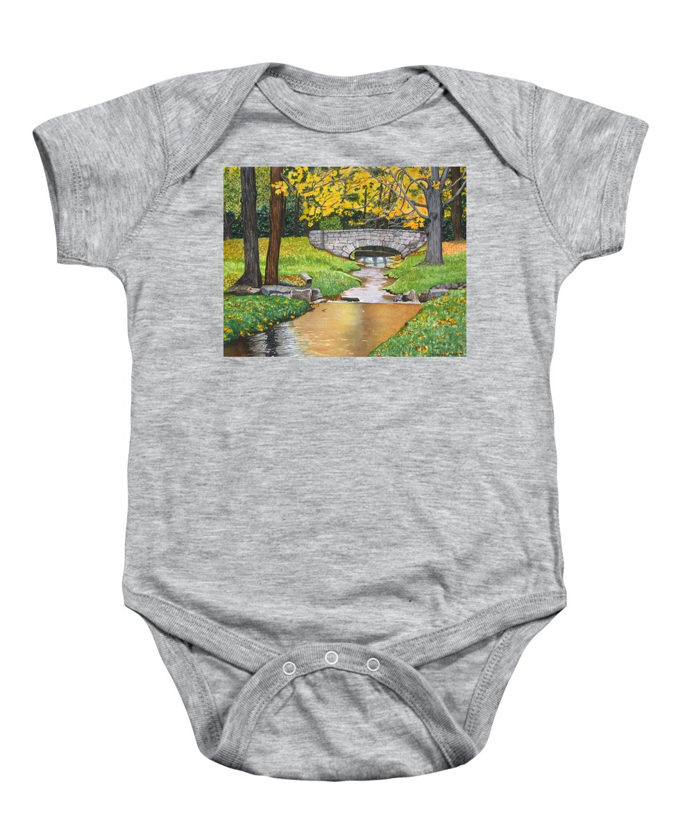 Landscape Baby Onesie featuring the painting Stone Bridge by Sharon Farber