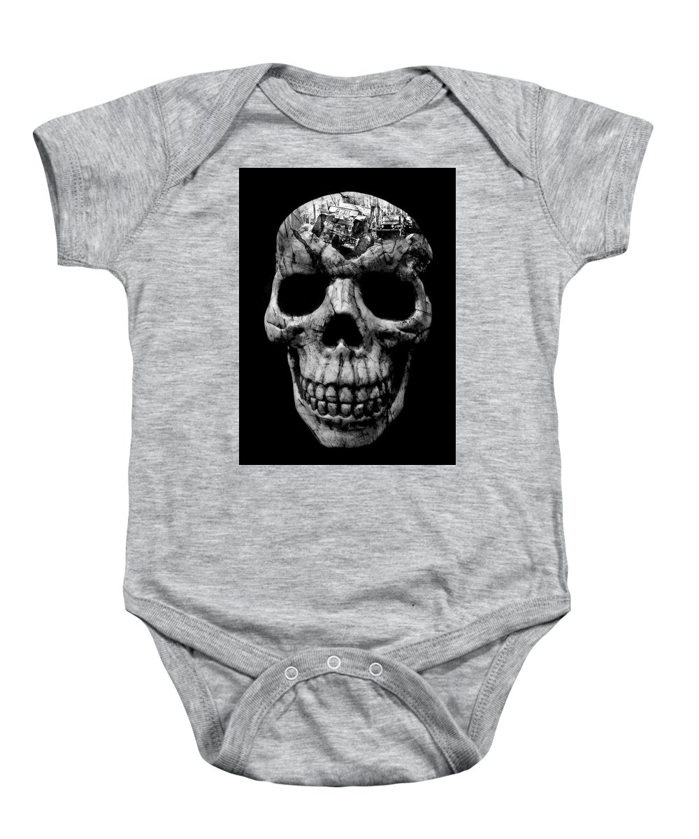 Jeep Baby Onesie featuring the photograph Stone Cold Jeeper Skull No. 1 by Luke Moore