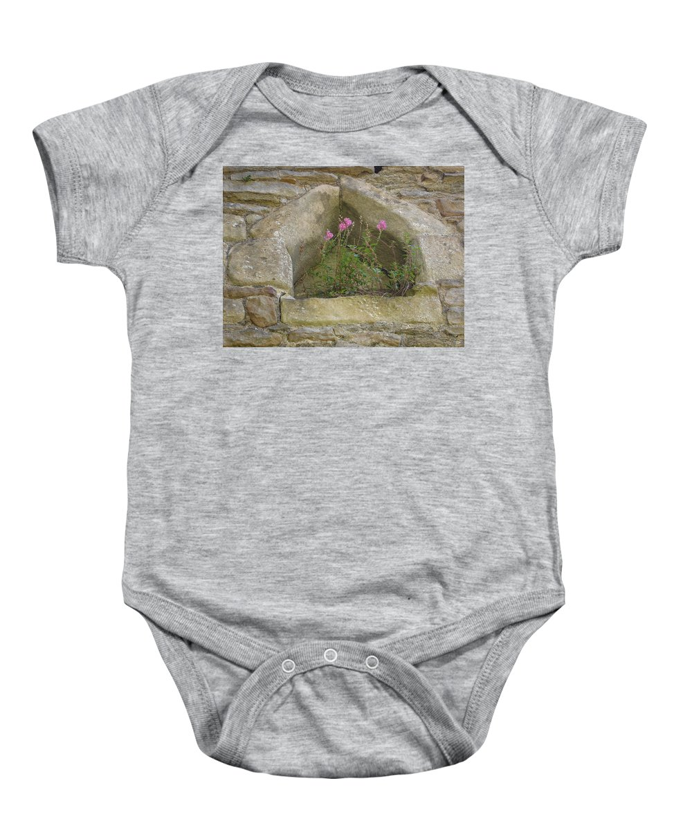 Flowr Baby Onesie featuring the photograph Stone Wall Determination by Susan Baker