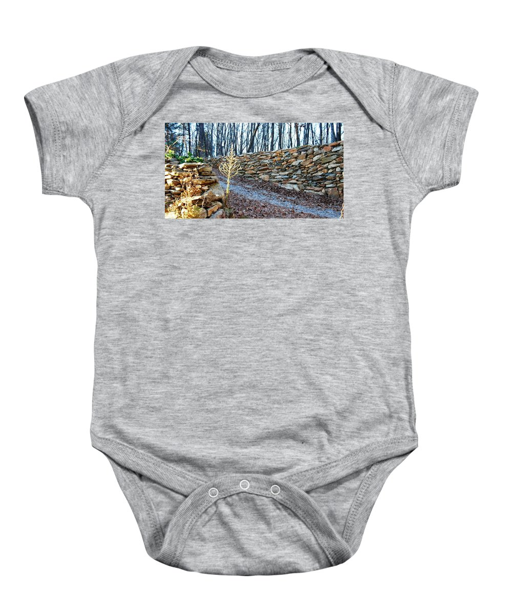 Photograph Baby Onesie featuring the photograph Stone Wall Ga Mountain 1 by Angela Murray