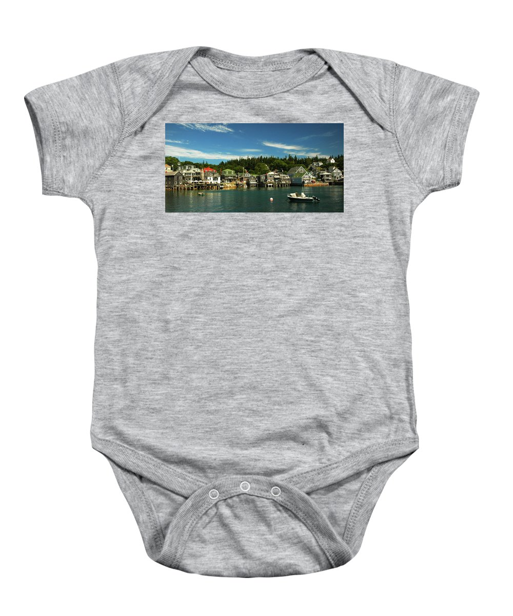 Stonington Baby Onesie featuring the photograph Stonington #1 by Jerry Griffin