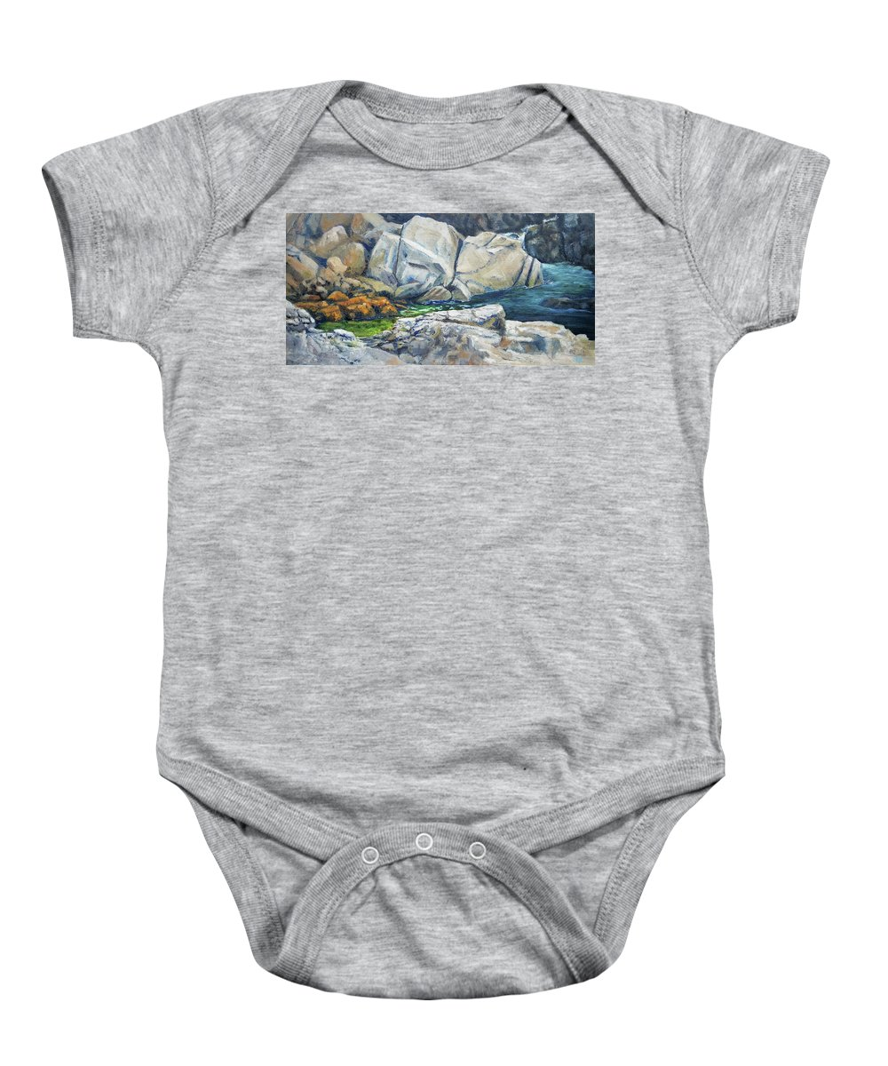 Rocks Baby Onesie featuring the painting Stopping Point by Susan Hanna