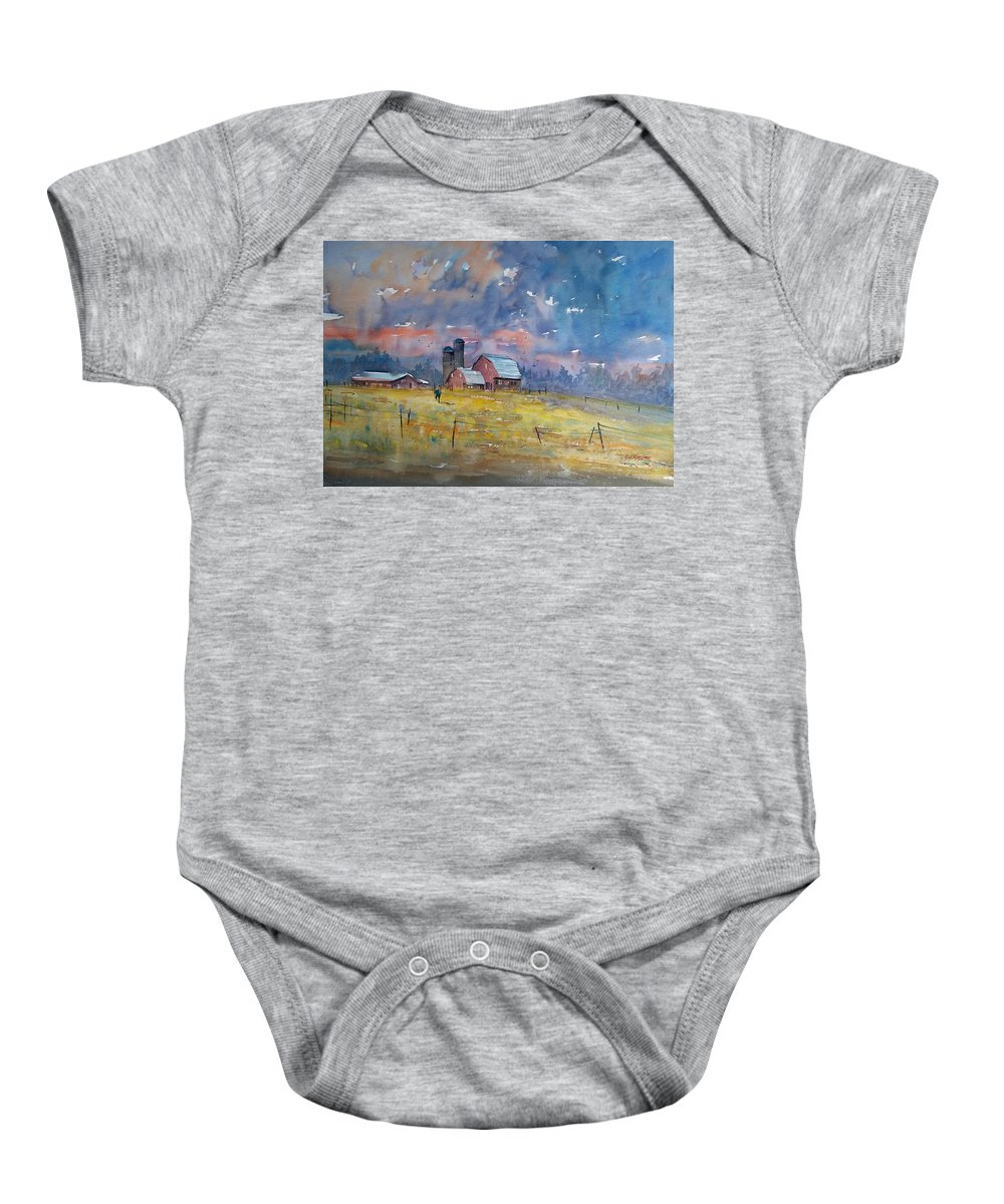 Watercolor Baby Onesie featuring the painting Storm Brewing by Ryan Radke