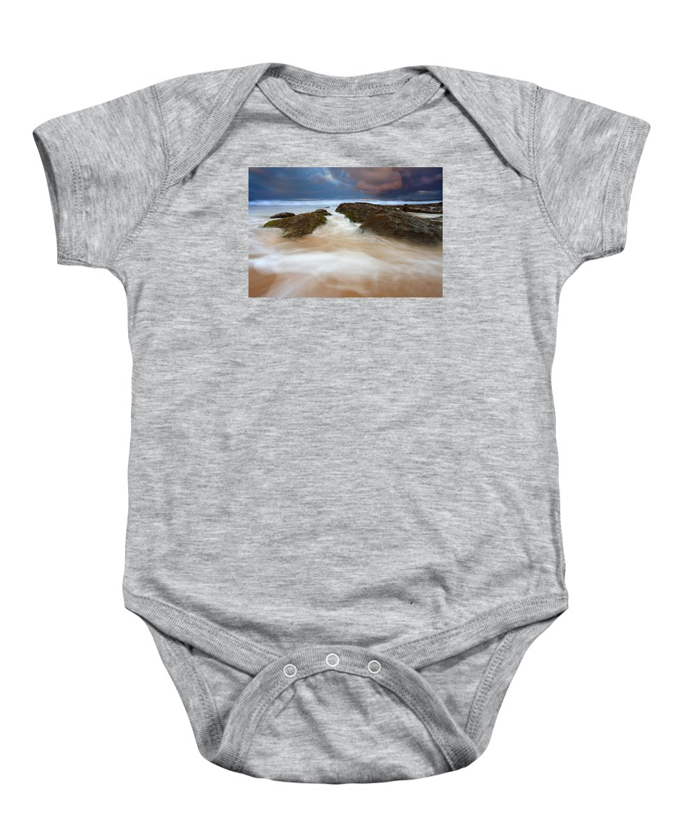 Seascape Baby Onesie featuring the photograph Storm Shadow by Mike Dawson