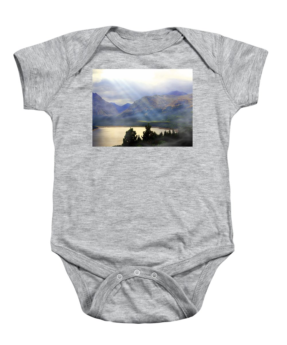 Glacier National Park Baby Onesie featuring the photograph Storms A Coming-lower Two Medicine Lake by Marty Koch